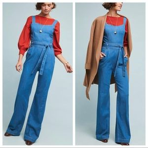 Anthro Ella Moss Magnolia Belted Denim Jumpsuit
